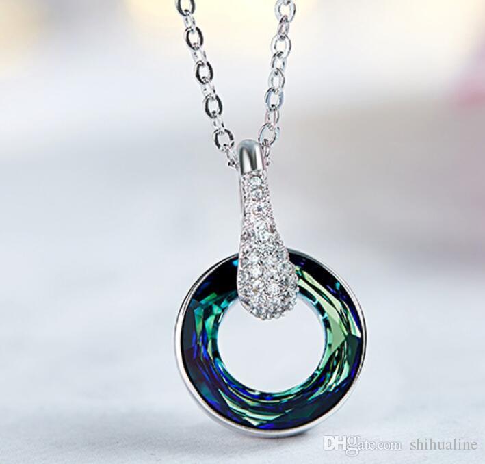 Lucky Wheel Necklace Pendant Chain Chain Chain Chain avec des cristaux Swarovski Elements