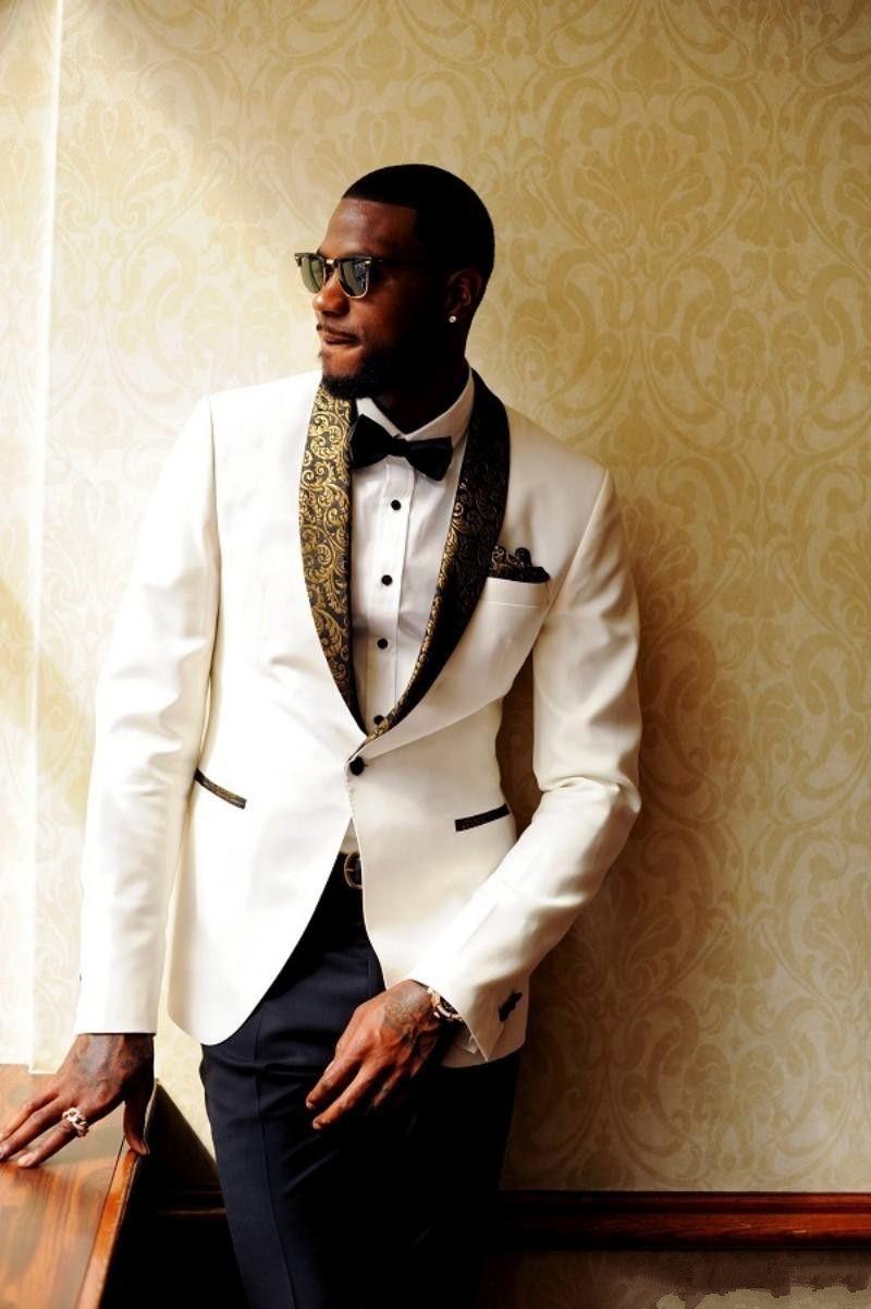 Handsome White Men Wedding Suits Slim Fit Bridegroom Tuxedos Cheap ...