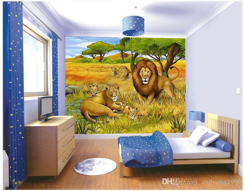 3D фото обои пользовательские 3D фрески обои стены джунгли, Лев живопись детская комната фон обои 3d гостиная декор стен
