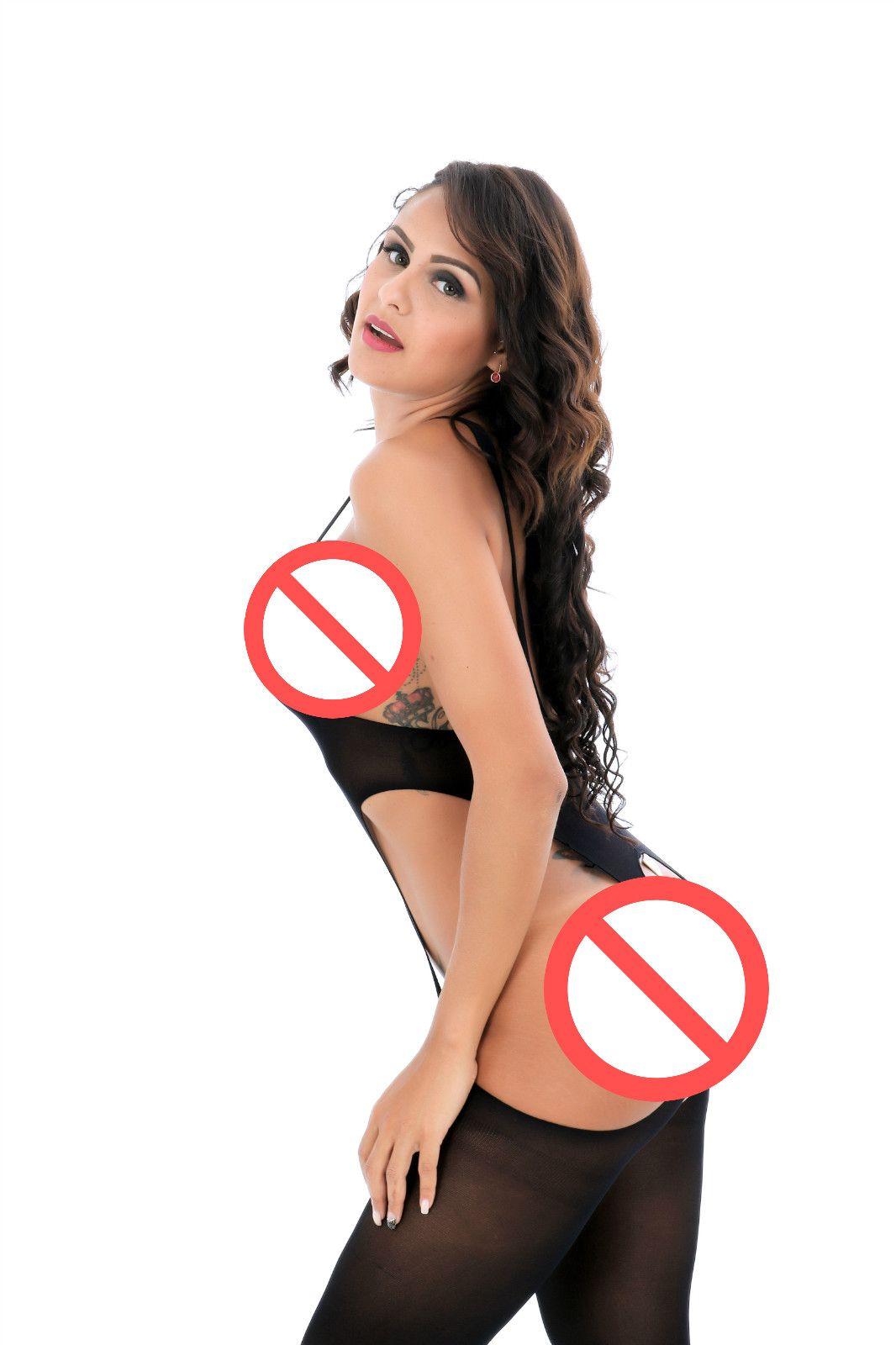 2017 Sexy Corps Nylon Tentation Femmes Sexy Halter Sans Manches Dos Ouvert Sheer Ouvert Entrejambe Avant Creux Résille Transparent Bodystocking