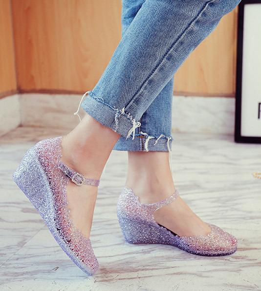 패션 여성 비는 중공 아웃 둥지 젤리 슈즈 메리 제인 웨지 신발 2 색 신발