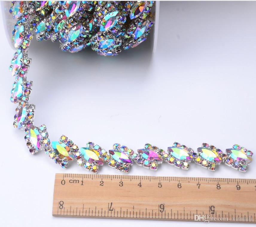 1.8cm width 1yard Horse eye AB glass Crystal flower Clear Glass Rhinestone Bridal Trim Fashion Chain Silver Belt Sash Bags Shoes