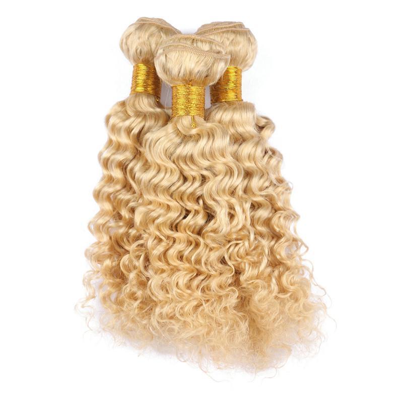 "Virgin Peruvian #613 Blonde Human Hair Extensions 10-30"" In Stock Deep Wave Wavy Bleach Blonde Human Hair Weave Bundles Tangle Free"