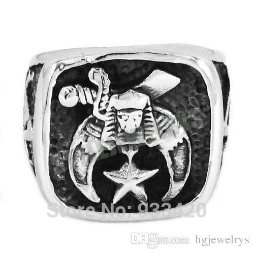 ! New Design Masonic Biker Ring Stainless Steel Jewelry Freemasonry Skull Moon Star Motor Biker Men Ring SWR0409