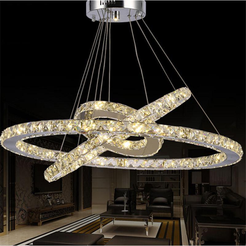 Modern LED Lustre de Cristal levou Anel de Diamante K9 Pingente lâmpadas de iluminação Para Casa De Praia Quarto Sala de Jantar AC110-240V LED SMD Cristal Ce