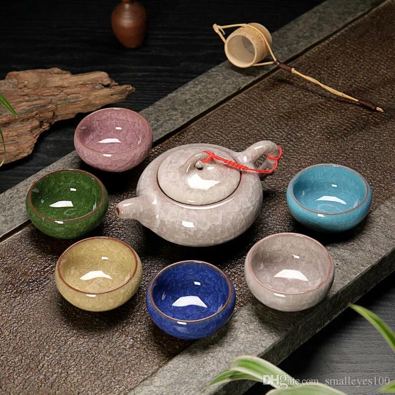 Promotion! Kung Fu Tea Set Set Crackle Glaze Voyage Chinois Porcelaine Tasse À Thé Définit Céramique Yixing Pourpre Argile Service De Thé