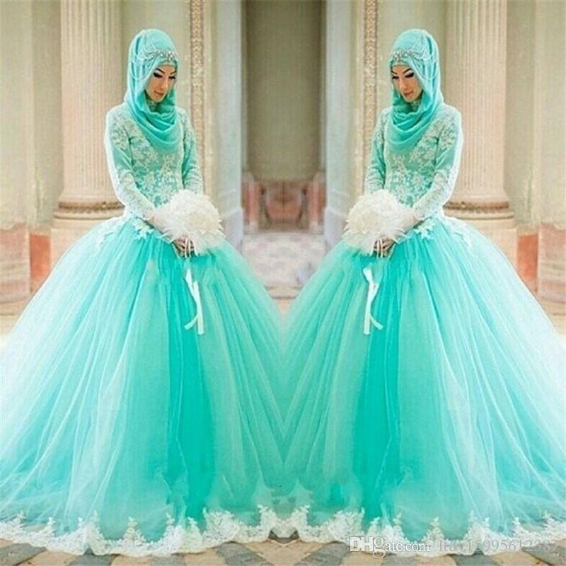 Hijab Lace Appliques Ball Gown Arabic Elegant Long Sleeve Wedding ...