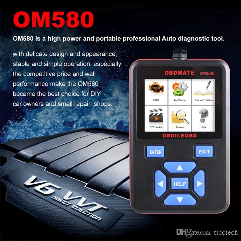 Nueva llegada de alta potencia y escáner OBD2 portátil Lector de código OM580 Profesional herramientas de diagnóstico automático 12V