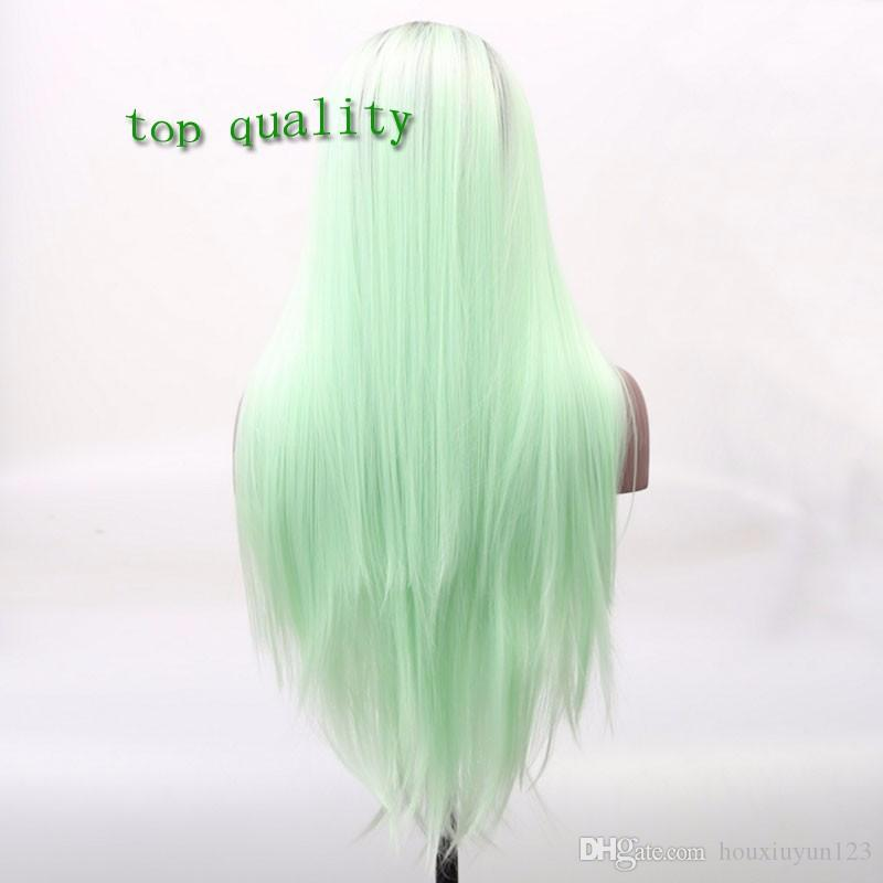 front lace wigs heat resistant hair wig two tone ombre green color glueless 1B black to green natural straight synthetic lace front wig