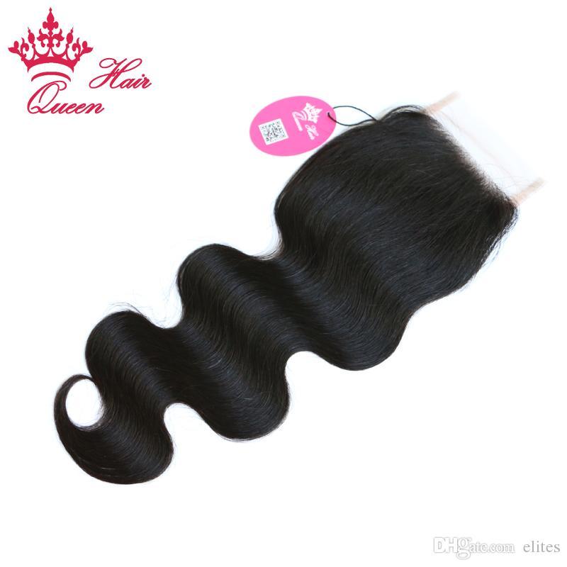 Queen Hair Cierre de encaje con 3 piezas Bundle, / Extensiones de cabello humano de la Virgen brasileña Onda del cuerpo 10