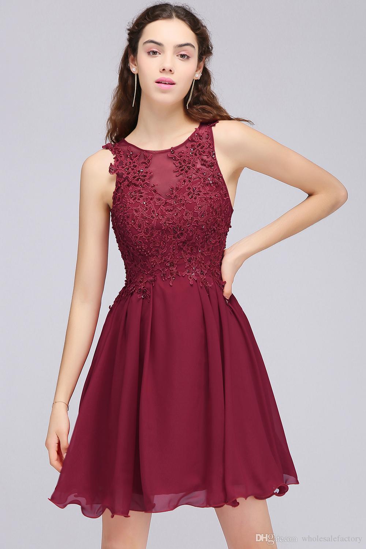 Compre Vino Rojo De Encaje Con Cuentas Una Línea De Regreso A Casa Vestidos Cortos Vestidos De Cóctel De Gasa Para Niñas Joya Cuello Barato Vestidos
