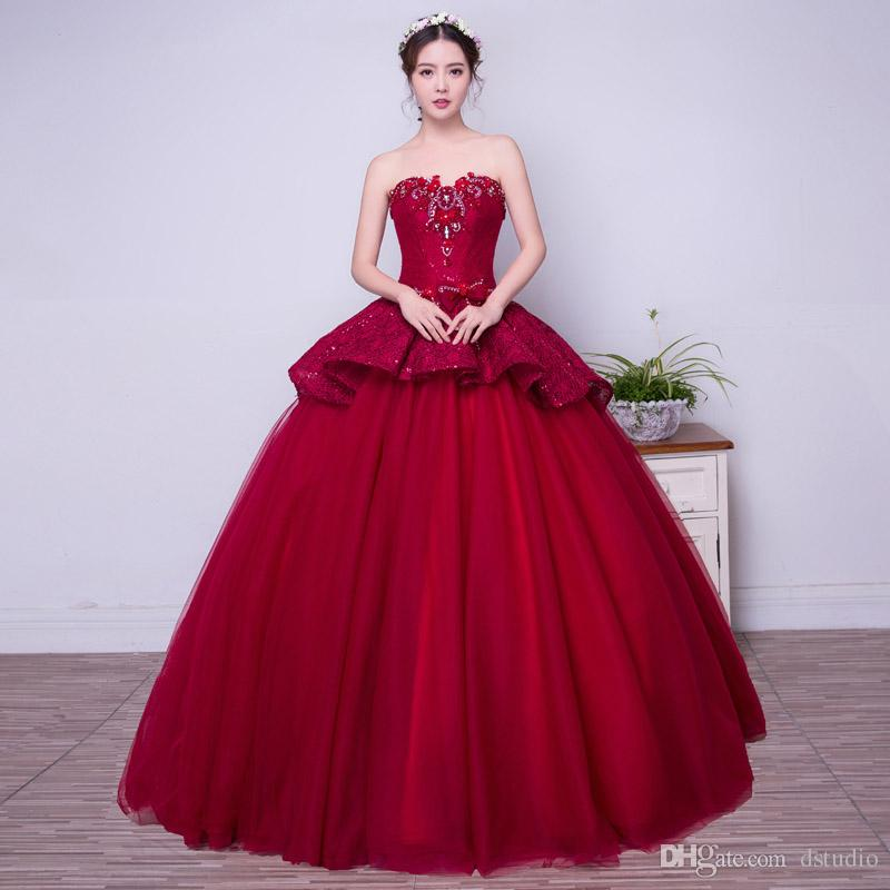 526421e77a00 Beautiful Wine Red Ball Gown Prom Dresses 2017 Fall Winter Evening Gowns  Lace Applique Quinceanera Dress Formal Gowns Canada 2019 From Dstudio