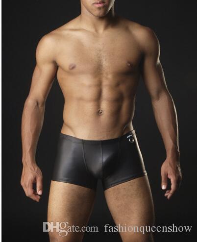 Sous-vêtement en similicuir de haute qualité Short de boxeur sexy Sous-vêtement de pantalon à taille basse Cool Short serré noir