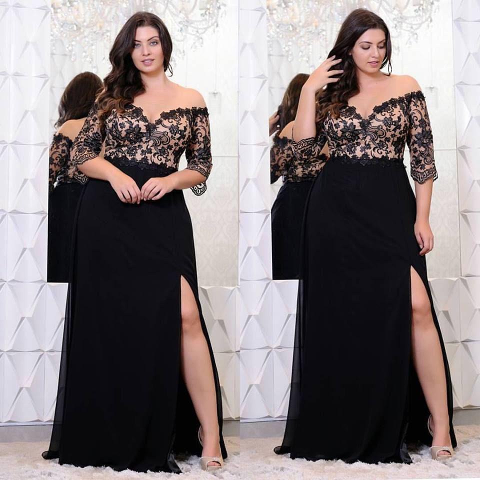 블랙 레이스 플러스 사이즈 댄스 파티 드레스는 어깨에서 절반 소매로 V- 넥 스플릿 사이드 이브닝 가운 A 라인 시폰 정식 드레스