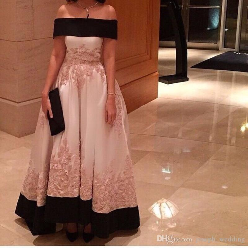 Off Shoulder Muslim Appliques Satin Evening Dress Long Formal Women Evening Gowns Boat Neck vestido de festa longo