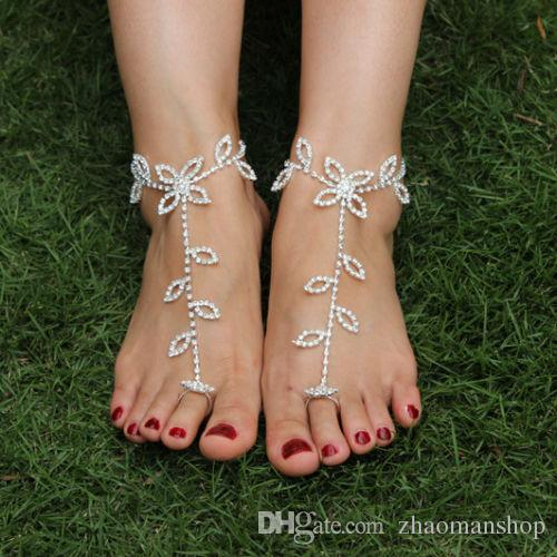Shiny Rhinestone Crystal Barefoot Sandals Bridal Anklet Beach Foot Jewelry