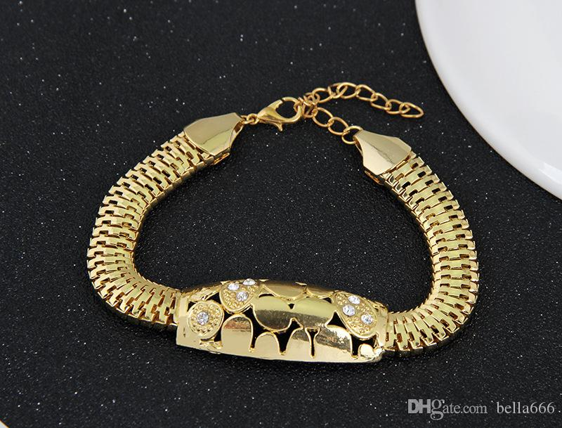 Ladies Wholesale Retail High-end Rhinestone Alloy Short Stitch Circle Necklace Bracelet Earrings Ring Four Sets Ornaments Wedding Jewelry