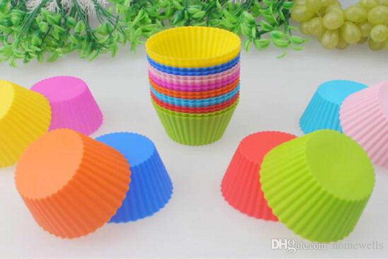 NEW ARRVIAL 7cm Silicone Muffin Mould Muffin Cupcake Molds FDA DIY Cupcake Baking Tools Round Shape Silicone Jelly Baking Mold