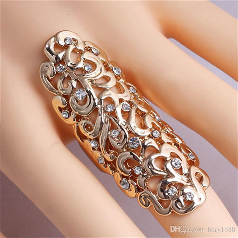 Punk Silver hollow flowers rings Long section finger ring Alloy diamond crystal ring women personality Jewelry Hot selling wholesale