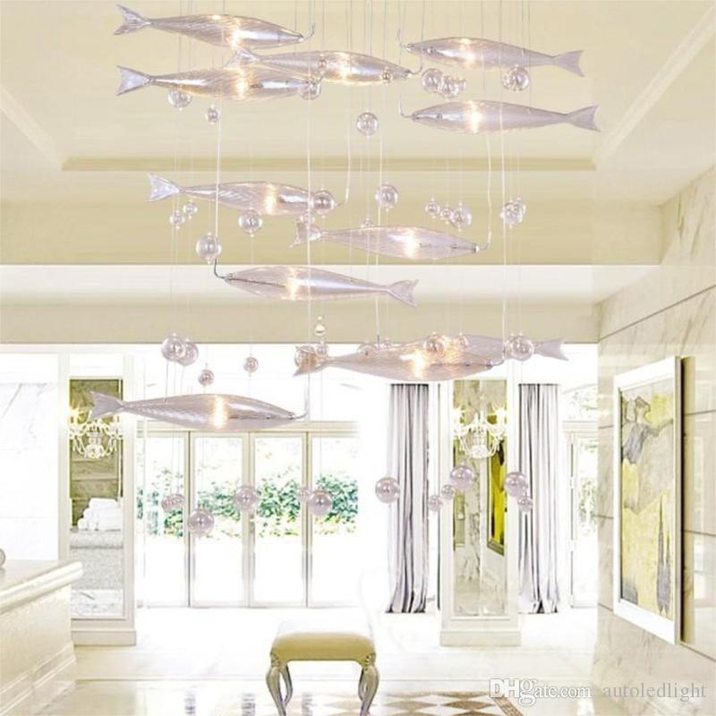 Vidro moderno Peixe Voar Luz de Teto Enxame De Peixes Lustre Sala Luz Cristal Cognac Peixes Coloridos Lâmpadas de Teto LLFA21