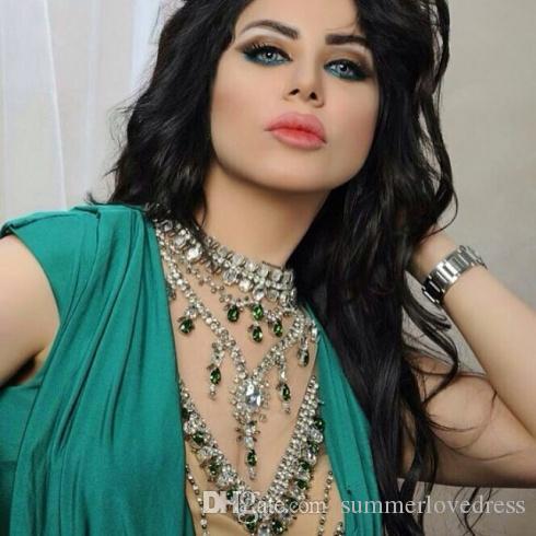 2017 New Arabic Green Illusion Mermaid Evening Dresses Beaded Stones Top Ruffles Floor Length Party Evening Prom Dresses