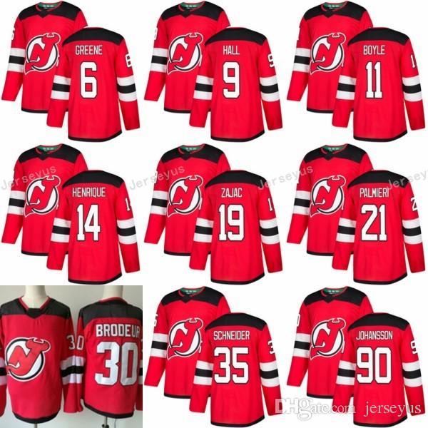2019 New Jersey Devils 19 Travis Zajac Jersey 2017 2018 New Season 90  Marcus Johansson 21 Kyle Palmieri 9 Taylor Hall 30 Martin Brodeur Red From  Jerseyus 734ef7c40