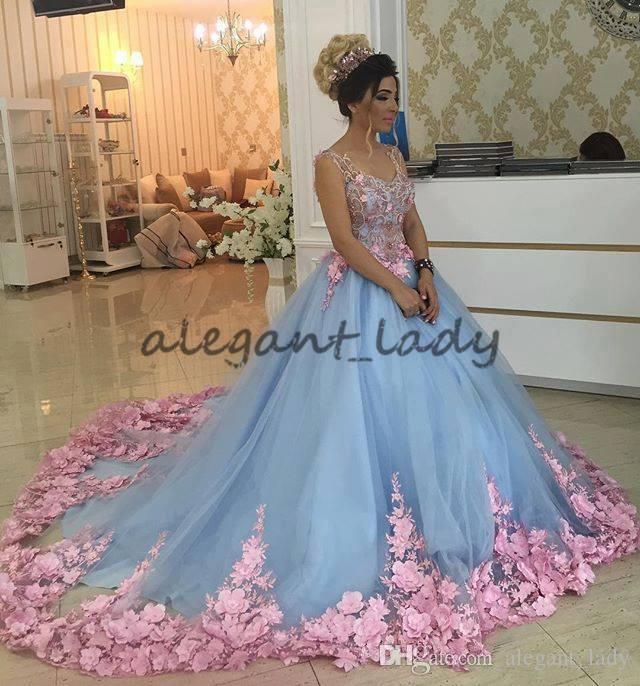 Azul bebê 3D Floral Masquerade Ball Gowns Catedral Trem Handmade Flor Debutante Quinceanera Vestidos Sweety Meninas 15 Anos Vestido