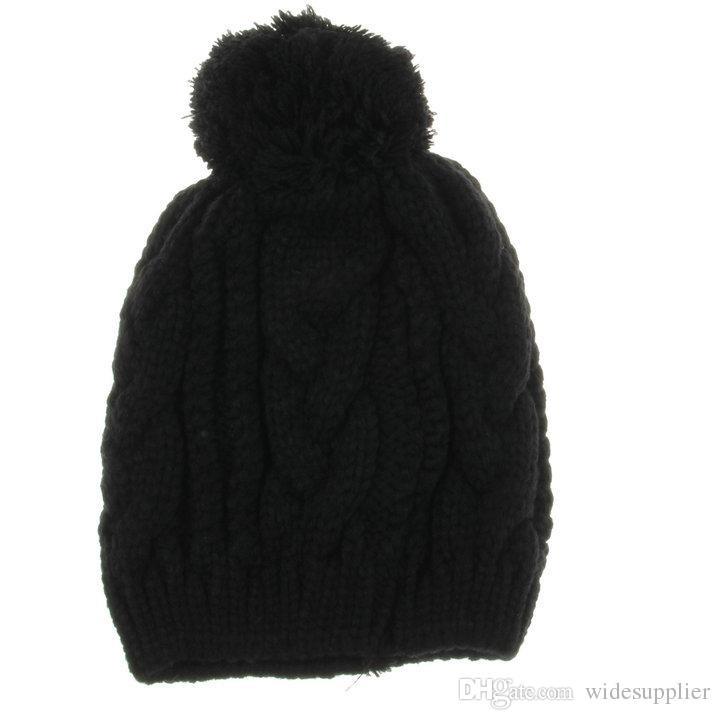 Reine Farbe warme Mützen Hüte für Männer und Frauen 8-Character Twist große Haare Ball Mütze Strickmütze Herrenhut für Winter Frühling männlich Wollmütze