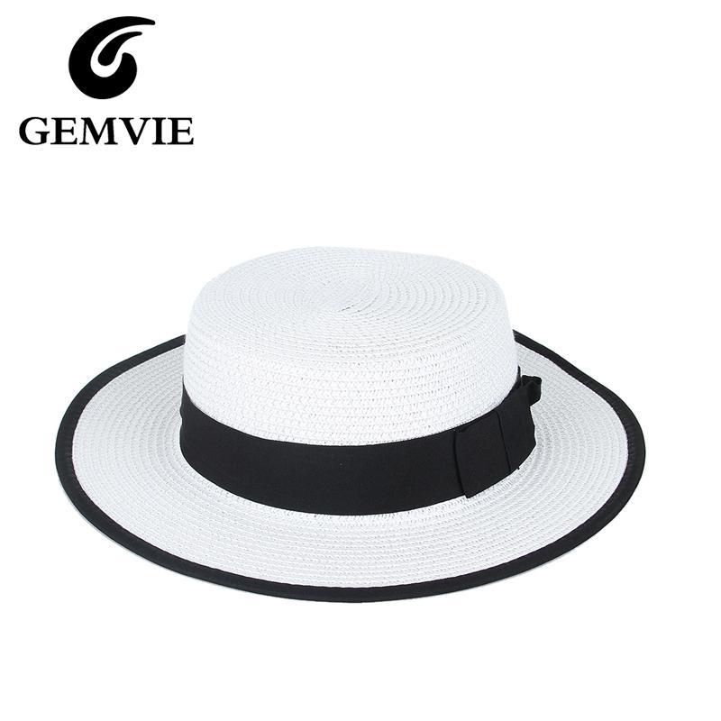 e4fd647a018 Wholesale Simple Fashion White Straw Hats For Women Sun Hat Black Bowknot  Flat Wide Brim Beach Caps Summer Hats Chapeu Feminino Winter Hats Hats For  Men ...