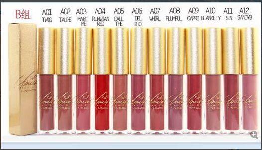 Frete Grátis Nova Maquiagem Lábios Caixa De Ouro Matte Batom Líquido Não-Vara Copo Lip Gloss! 12 Cores Diferentes 12 Peças / lote