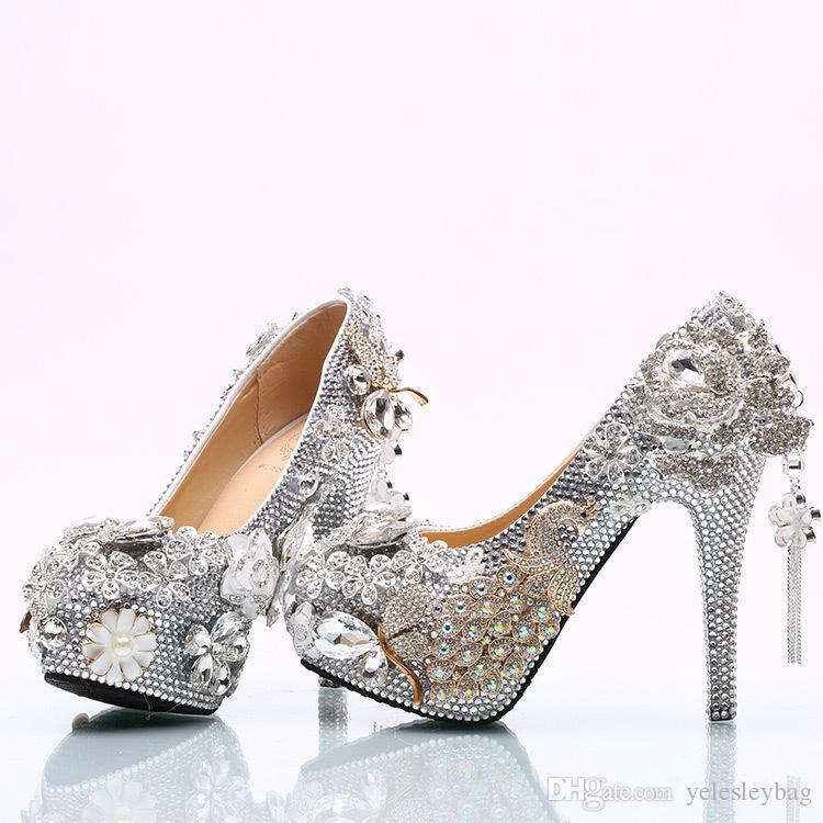 Lussuoso bowtie strass ultra tacco alto scarpe cristalli di perle abito da sposa scarpe belle scarpe la sposa