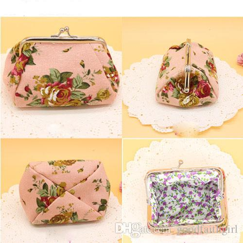 New Fashion canvas rose flower clutch coin purse key holder wallet hasp small coin change gifts bag jewelry pouch xmas present handbag