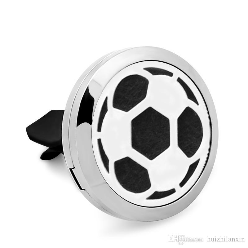 Football 316L Stainless Steel Car Perfume Locket For 30MM Essential Oil Diffuser With Free Pads