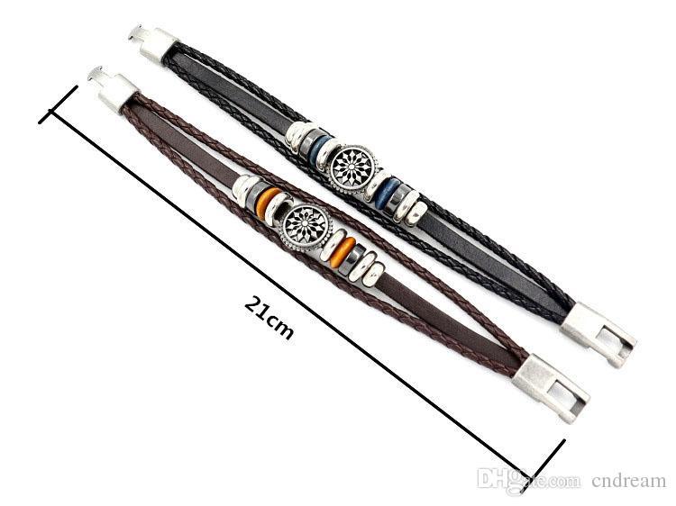 Fashion Flower Genuine Pelle Braccialetto Charm Braid Wrap Bangle Polsini da uomo Braccialetti gioielli regalo