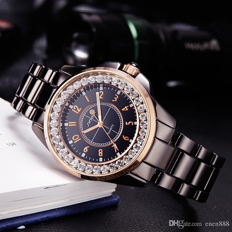 d7c3e207a9b Compre Sinobi 2017 Moda Diamantes Assista Mulheres Marca De Luxo Dress  Imitação De Cerâmica Pulseira Top Ladies Genebra Relógio De Quartzo Feminino  De ...