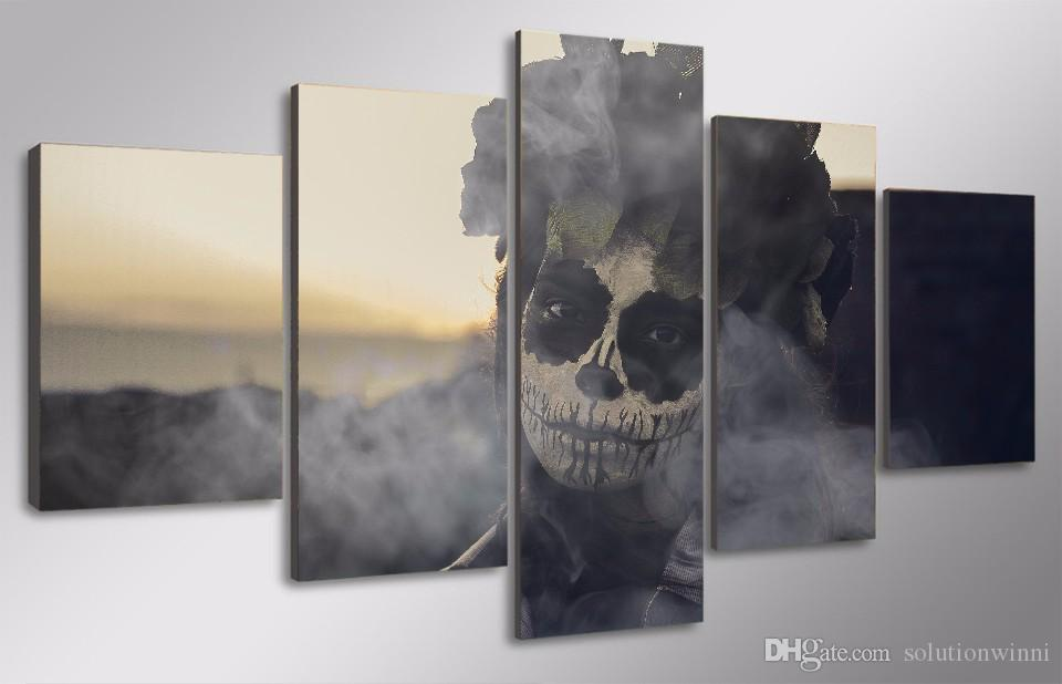Framed HD Printed Day of the Dead Face Wall Art Picture Canvas Print Decor Poster Modern Canvas Oil Painting