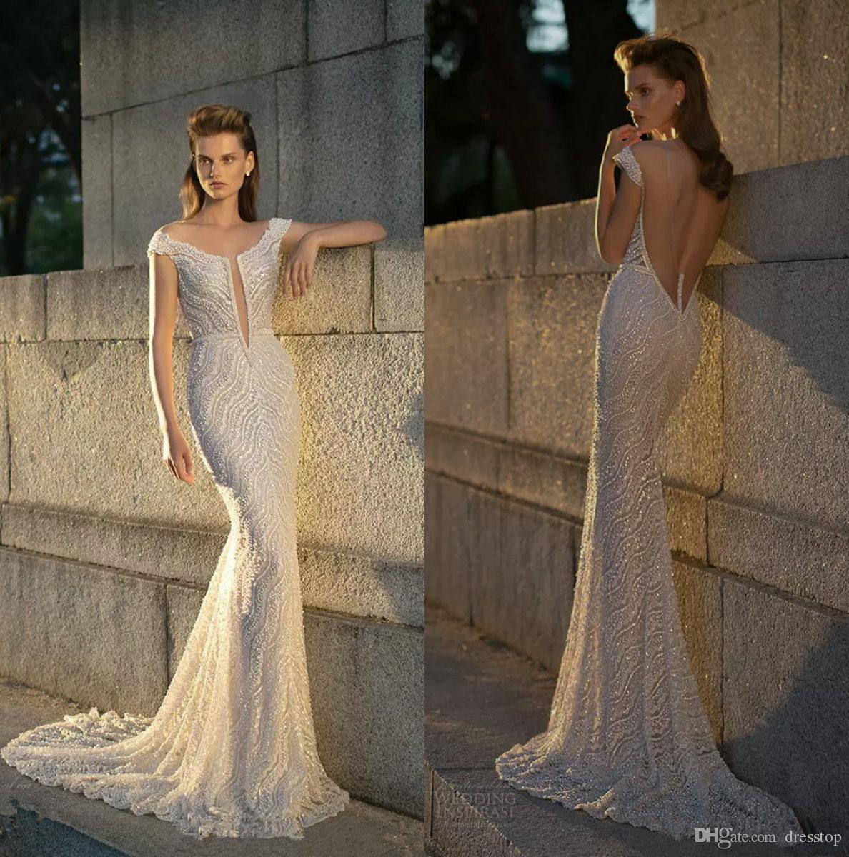 7aaa0aec0bd71 2018 Sexy Berta Beading Mermaid Wedding Dress Sweep Train Sleeveless  Backless Trumpet Bridal Gowns Custom Made