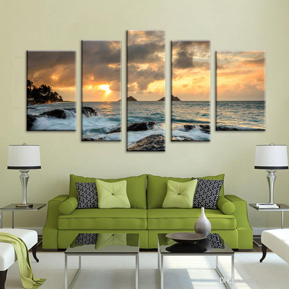 YIJIAHE Landscape Print Canvas Painting Setting Sun Canvas Art Wall Pictures For Living Room Large Wall Art FJ22