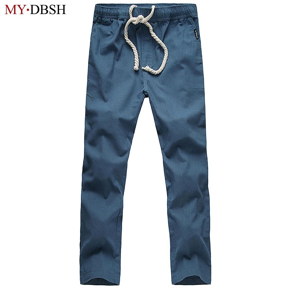 bf06b933dff 2019 Wholesale Mens Linen Pants Summer Style Joggers Solid Color Casual  Breathable Wicking Cool Loose Cotton Sweatpants Trousers From Blairi