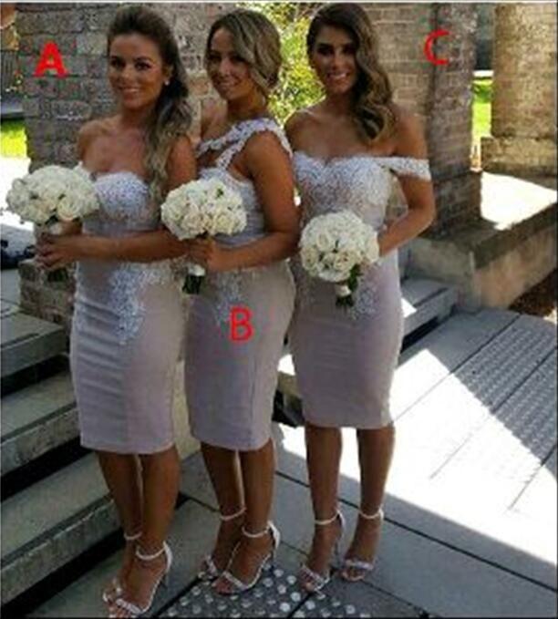 Vestidos de dama de honor cortos con tubo y top de encaje 2017 Vestidos de dama de honor de longitud de té nueva moda Vestidos de invitados de boda formales personalizados
