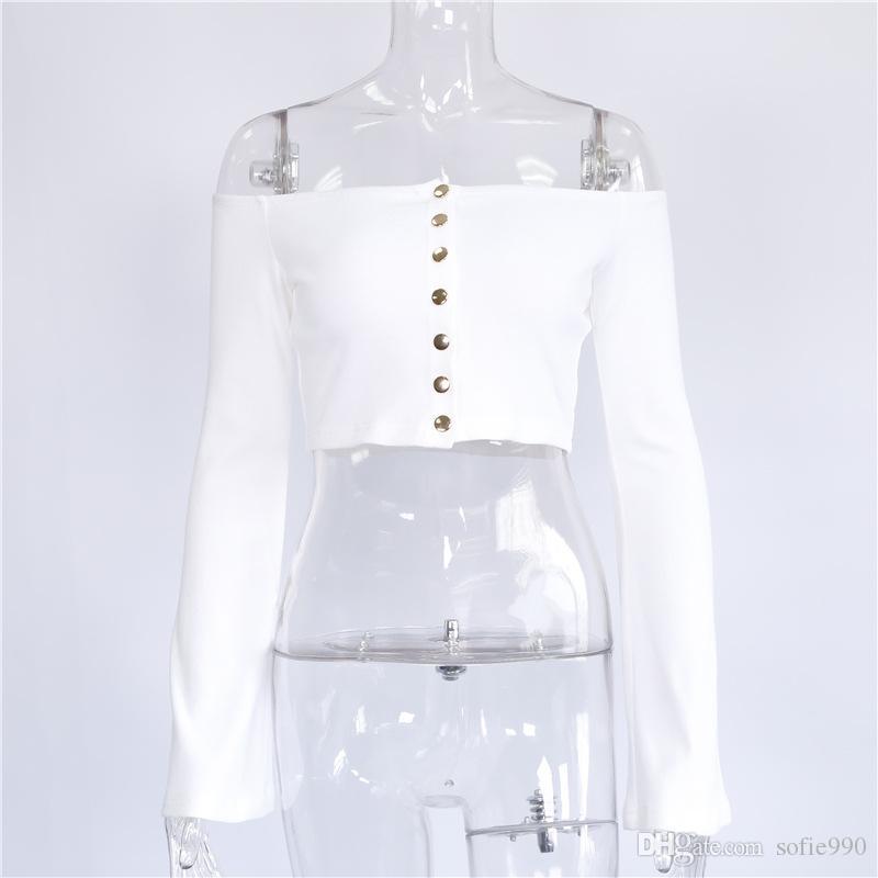 Tee-shirt femme bouton haut t-shirt femme t-shirt mode flare sexy t-shirt blanc slash cou mince chemises femmes