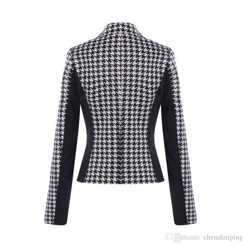 Hot Fashion Women's Houndstooth Slim Fit short Coats One Button Long Sleeve Blazer Suit Outwear OL Style Leisure Coat