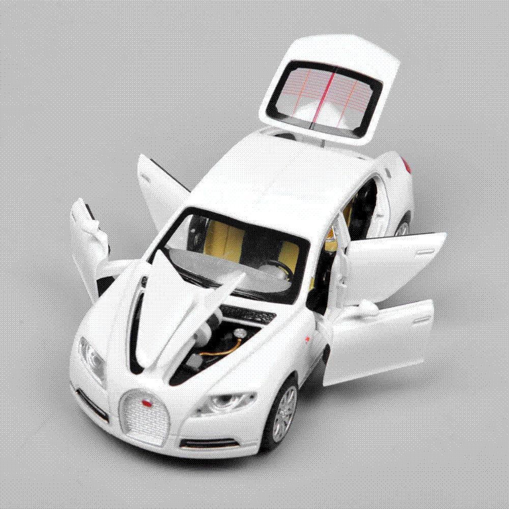 Collectible Alloy Diecast White Car Model 132 Bugatti Veyron 16c