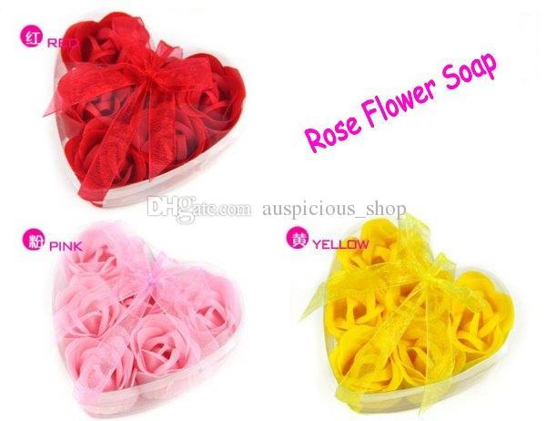 Acheter Savon Fleur Forme De Coeur Petales De Rose A La Main Rose
