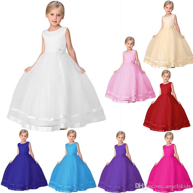 f0f683cee68d Acquista Vestiti Pageant Della Bambina Vestito Da Principessa Bambini  Bambino Fiore Ragazze Partito Paillettes Abito Da Sposa Damigella D onore  Vestito ...