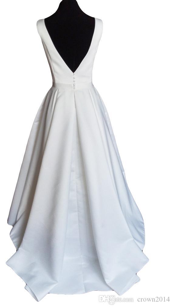 Robe de mariée satin simple moderne 2021 avec le train de rupture ouverte Train de Cour à ébullie Col de haute qualité sur mesure Custom White Robes de mariée