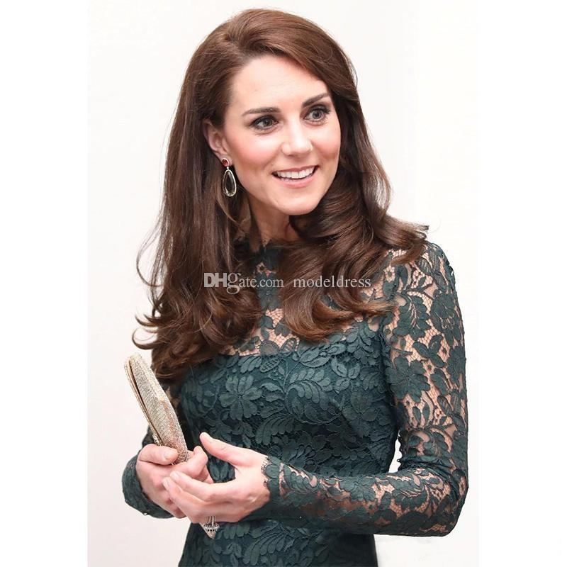 Kate Middleton Abiti da sera in pizzo formale 2018 Maniche lunghe Sheer Neck Fodero Lungo Hunter Verde Prom Party Red Carpet Abiti personalizzati personalizzati