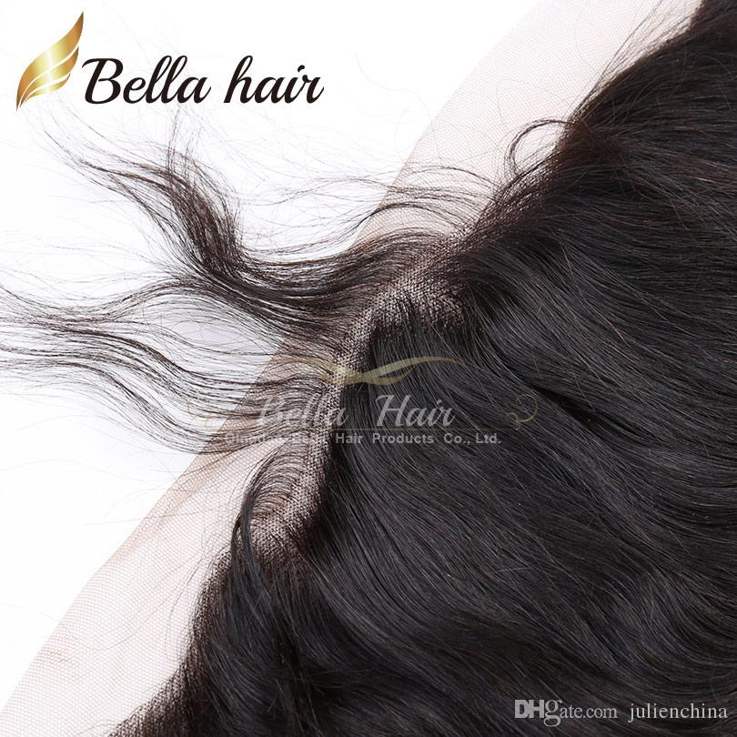 바디 웨이브 3 묶음 13 * 4 정면 말레이시아 페루 브라질 버진 인간의 머리카락 확장 귀에 귀 레이스 정면 폐쇄 및 짜기