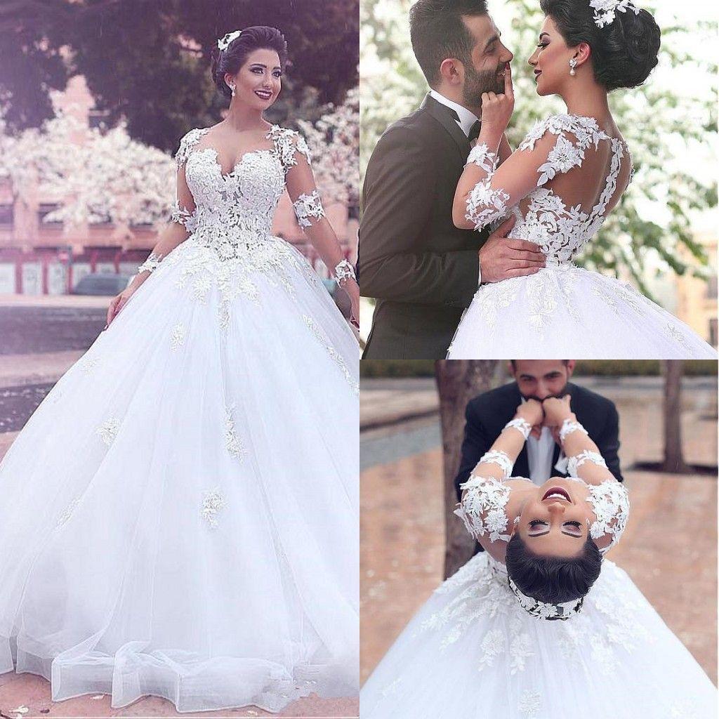 6364932ff341 Arabic Lace Ball Gown Wedding Dresses Long Sleeve Sweep Train Appliques  Illusion Bodice Chapel Garden Country Bridal Gowns Vestido De Novia  Princess Wedding ...