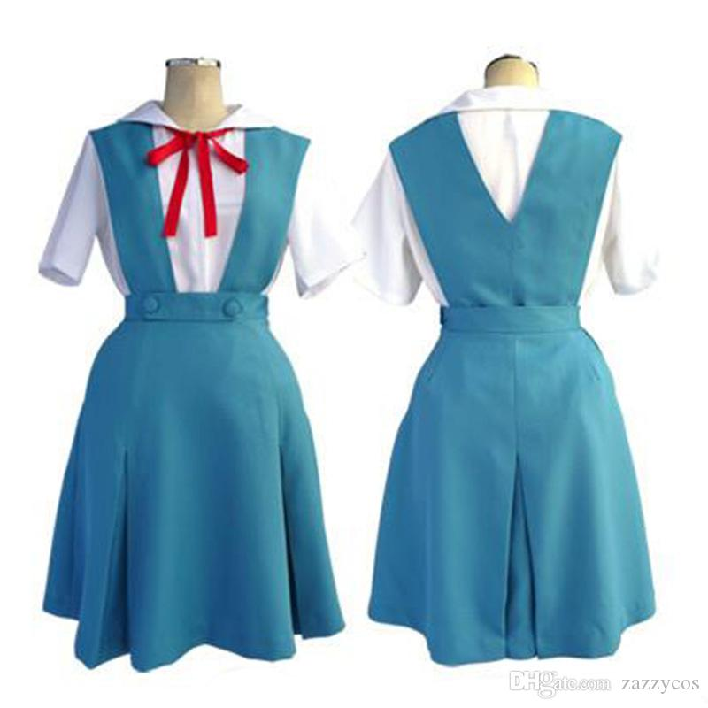 Evangelion EVA Ayanami Rei Uniforme Cosplay Costume Robe Outfit